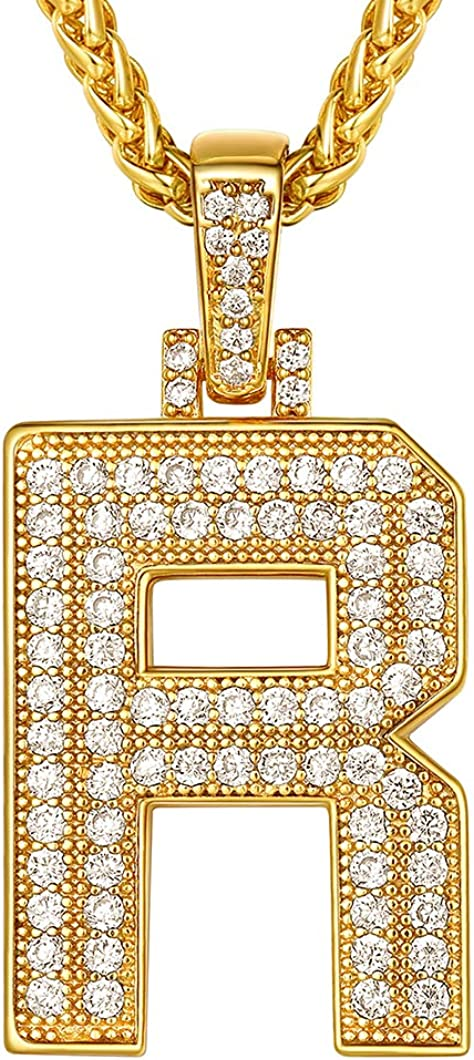 Richsteel 18K Gold Plated Cubic Zirconia A-Z Initial Necklace for Men Women Personalized 2-5 Letter Pendant with Wheat/Tennis Chain Hip Hop Jewelry(Send Gift Box)