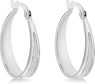 Tuscany 纯银镀铑 21 毫米星球形刻字耳环