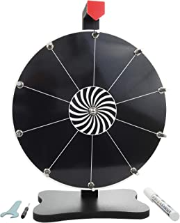 Whirl of Fun Prize Wheel 12 Inch Black-Tabletop with Stand, 10 Slots, Spinning Customize Erasable Whiteboard Surface, Port...