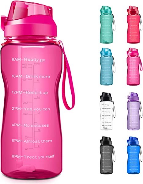4AMinLA Motivational Water Bottle 2 2L 64oz Half Gallon Jug With Straw And Time Marker Large Capacity Leakproof BPA Free Fitness Sports Water Bottle