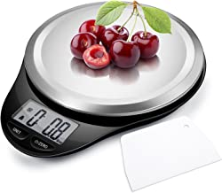 CAMRY Digital Kitchen Multifunction Food Scale with LCD Display for Home Baking Diet Cooking, 11lb 5kg, High Accuracy Electronic Scale(0.1oz), Anti-Fingerprint, Tare & Auto Off Function Black