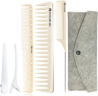 HYOUJIN 5in1 6ps Ivory White Professional Hair Styling Comb Set kit Beard Comb kit set & Heat-resistance w/Cutting Comb + ...