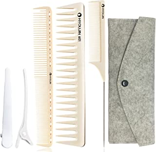 HYOUJIN 5in1 6ps Ivory White Professional Hair Styling Comb Set kit Beard Comb kit set & Heat-resistance w/Cutting Comb + Wide tooth comb + Pintail comb + 2 Hair Clips & Felt Pouch
