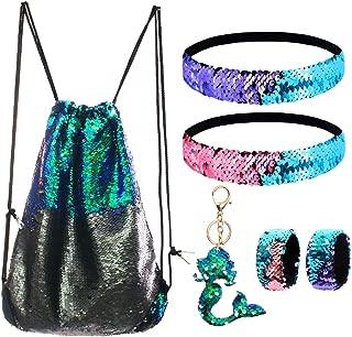 Mermaid Reversible Sequin Drawstring Backpack/Bag Green/Black for Kids Girls