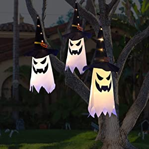 Halloween Decorations Outdoor Decor Hanging Lighted Glowing Ghost Witch Hat Halloween Decorations Indoor Outside Ornaments Clearance Halloween Party Lights String for Yard Garden Tree Porch(3Pcs)