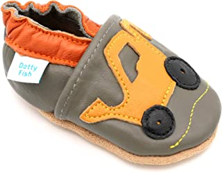 Dotty Fish Soft Sole Leather Baby Shoes. Prewalker. 4-5 Years. Yellow Digger.