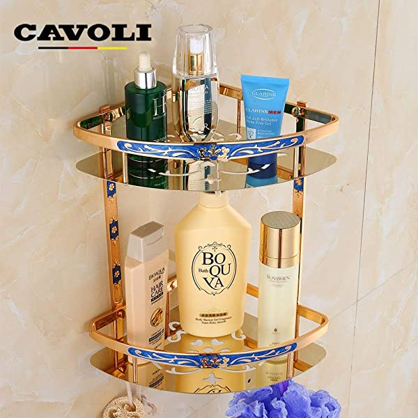 Tungchilan European Style Space Gold Amber Blue Stainless Steel Antiquetriangle Basket Retro Bathroom Shelf Bathroom Accessories Multifunctional Storage Box