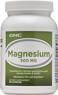 GNC Magnesium 500mg, 120 Capsules, Supports Calcium Absorption and Strong Bones and Teeth
