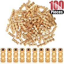 Hilitchi 100 Pcs Female Thread Brass Knurled Threaded Insert Embedment Nuts, Embed Parts, Pressed Fit into Holes for 3D Prints and More Projects (M2x10mmx3.5mm)