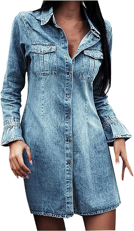 BFONE Women's Turndown Neck Denim Jacket Dress Fall Casual Long Distressed Ripped Denim Jean Jacket Dress Trench Coat