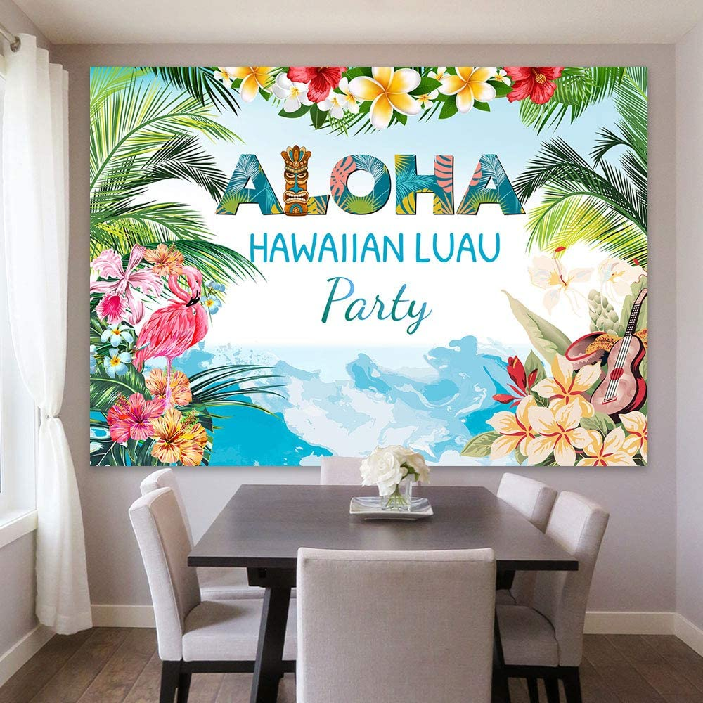 Maijoeyy 7x5ft Aloha Backdrop Luau Party Backdrop Hawaii Tropical Summer Flamingo Backdrops for Photography Luau Photo Backdrop Decorations for Party