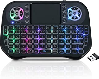 Mini Wireless Keyboard Backlit with Touchpad, 2.4GHz USB Rechargeable Handheld Remote Control Keyboard with 7 Colors RGB B...