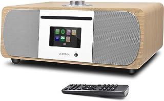 LEMEGA M5P - Sistema de música HIFI todo en uno con reproductor de CD, radio por Internet, radio FM, Spotify, Bluetooth, WIFI, altavoz estéreo de 2.1 canales, salida de auriculares, USB MP3, entrada auxiliar, aplicación y control remoto (roble blanco)