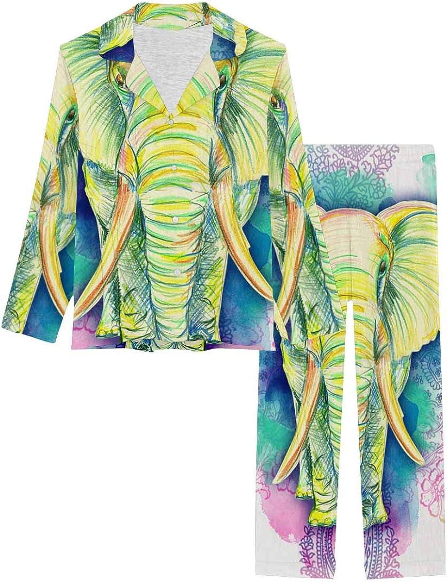 InterestPrint Women's Pajamas Set Long Sleeve with Long Pants XS-XXL Drawn Elephant of Color Pencils