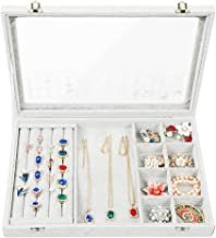 Stylifing Clear Lid 3 in 1 Jewelry Tray Ring Earring Necklace Storage Box Stackable Holder Ice Velvet Display Showcase Lockable for Women