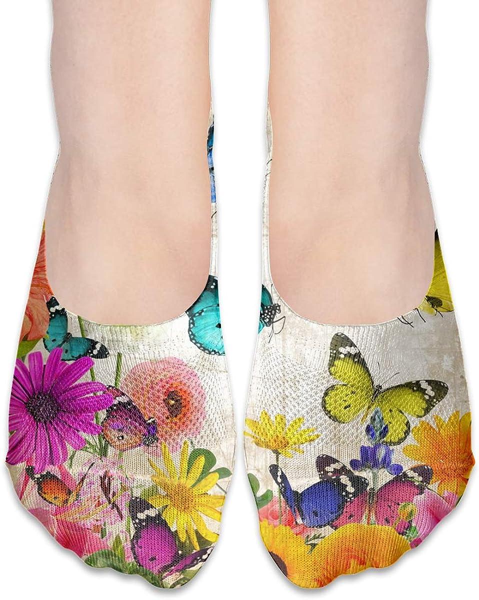 No Show Socks Women Men For Old Paper Flowers Butterfly Flats Cotton Ultra Low Cut Liner Socks Non Slip