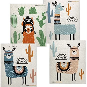 Mixed Llama Set of 4 Cloths Swedish Dishcloths (One of Each Design) | ECO Friendly Sponge Cloth | Paper Towel Replacement