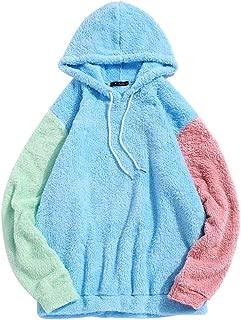 Men's Color Block Patchwork Fuzzy Sherpa Pullover Drawstring Hoodie Sweatshirt