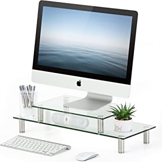 FITUEYES Glass Monitor Stand 1 or 2 Tier Computer PC/Laptop Riser Desk, Space Save for Home Office and School Use DT206002GC