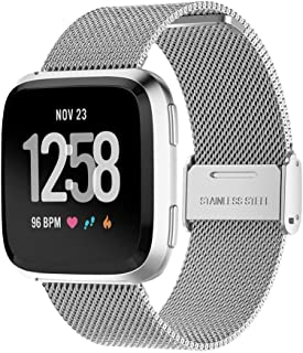 TERSELY Band Strap for Fitbit Versa 2/1 / Versa Lite, Luxury Metal Stainless Steel Adjustable Replace Replacement Bands Fi...