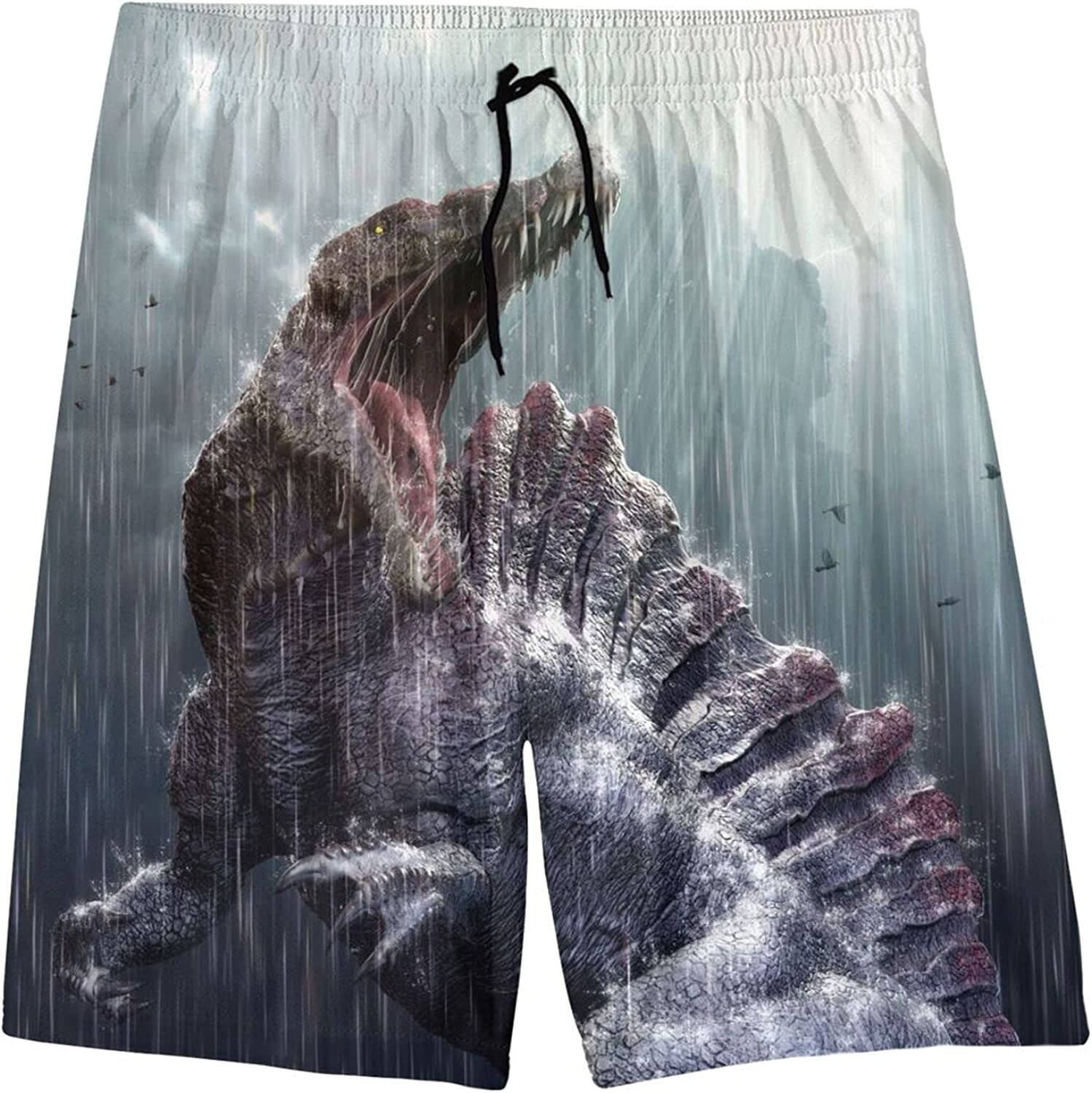 Japanese Tattoo Style Original Sketch Drawing Boys Beach Board Shorts Swim Trunks with Pockets for Teenagers