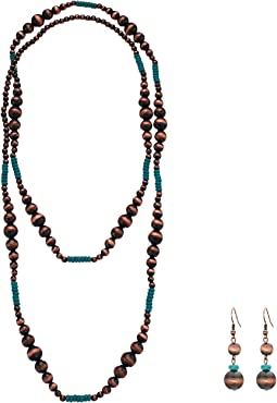 Copper & Turquoise Bead Necklace/Earrings Set