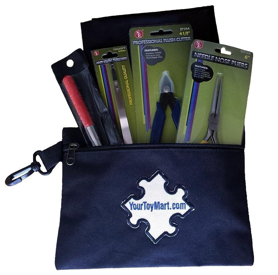 SOJ 3D Model Building Tool Kit Includes Pliers, Flush Cutter, Tweezers, Mandrel, Building Surface and Black Carry Pouch Bag