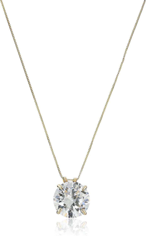 14k Gold Cubic Zirconia Solitaire Pendant Necklace, 18