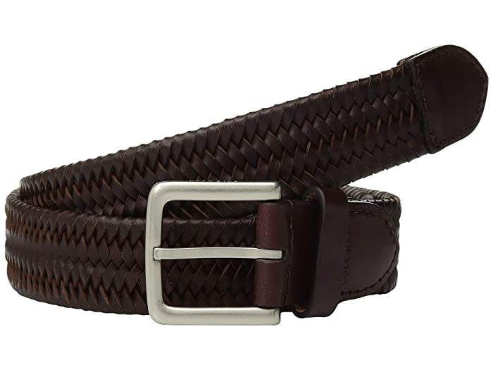 Cole Haan 35 mm. Stretch Braided Leather Belt (Cordovan) Men