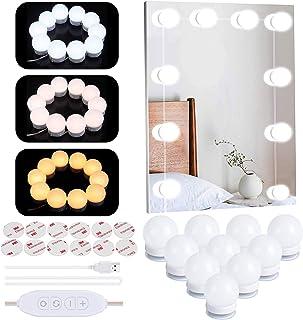 LED sminkspegellampor, Hollywood-stil USB smink mirrior remsa lampor kit med 10 dimbara LED-lampor, 3 färger lägen 10 nivå...