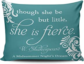 SALLEING Custom Fancy Plush Though She Be Little, But She is Fierce Decorative Pillowcase Pillowslip Throw Pillow Case Cover Zippered One Side Printed 12x18 Inches