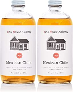 Pink House Alchemy Mexican Chile - Simple Syrup 2 / 16 oz - Best Cinco De Mayo Cocktail Drink Mix - Make a Pioneer Woman Spicy Cowgirl Coffee - Only Fresh Peppers Used (MC2)