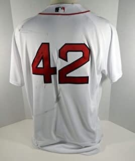 2017 Boston Red Sox Fernando Abad #42 Game Used White Jackie Robinson Jersey - Game Used MLB Jerseys