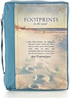 Footprints printed polyester canvas Bible Cover - Extra Large