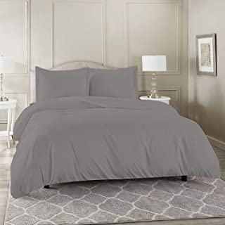 UAE BedLinens 100% Egyptian Cotton, 800 Thread Count Soft and Luxurious 3 Piece Duvet Cover Set Super King Size - Silver