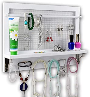 Spiretro White Wall Mount Jewelry Organizer Holder Rack with Hooks Shelf and Removable Rod Hanging Earrings Necklaces Bracelets Rings Storage Accessories