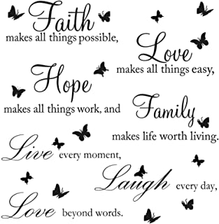 Zonon 2 Pieces Vinyl Wall Decals Faith Makes All Things Possible Live Laugh Wall Love Decals Wall Stickers Quotes Inspirat...