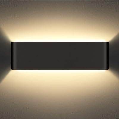 SCHIELE Applique murale d'intérieur 12 W - Noir - LED Up Down - 960 lm - En aluminium - 2800 K - Blanc chaud - Pour salle de bain, salon, chambre, escalier, couloir