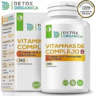 Detox Organica Vitamina B Complex 180 Comprimidos | Complejo Vitamina B con 8 Vitaminas del Grupo
