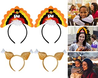 Amandir 4 Pack Thanksgiving Turkey Drumstick Headband for Holiday Costume Party Favors Thanksgiving Accessories Decorations