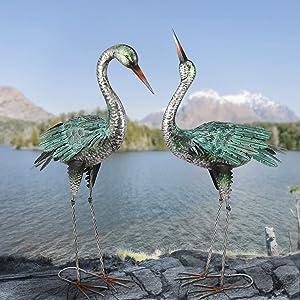 Garden Crane Statues Outdoor Metal Yard Art Heron Statues and Sculptures,Set of 2