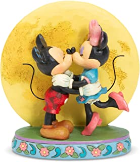 Enesco Disney Traditions by Jim Shore Mickey and Minnie Mouse Moonlight Kiss Figurine, 6.3 Inch, Multicolor