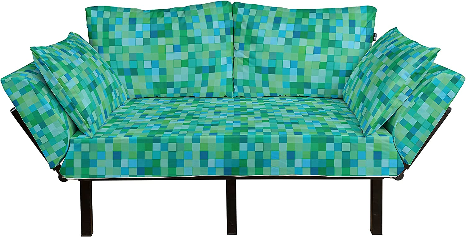 Ambesonne Teal Futon Couch 3D Tulsa Mall Pattern Cube Abstract Vib New York Mall Squares