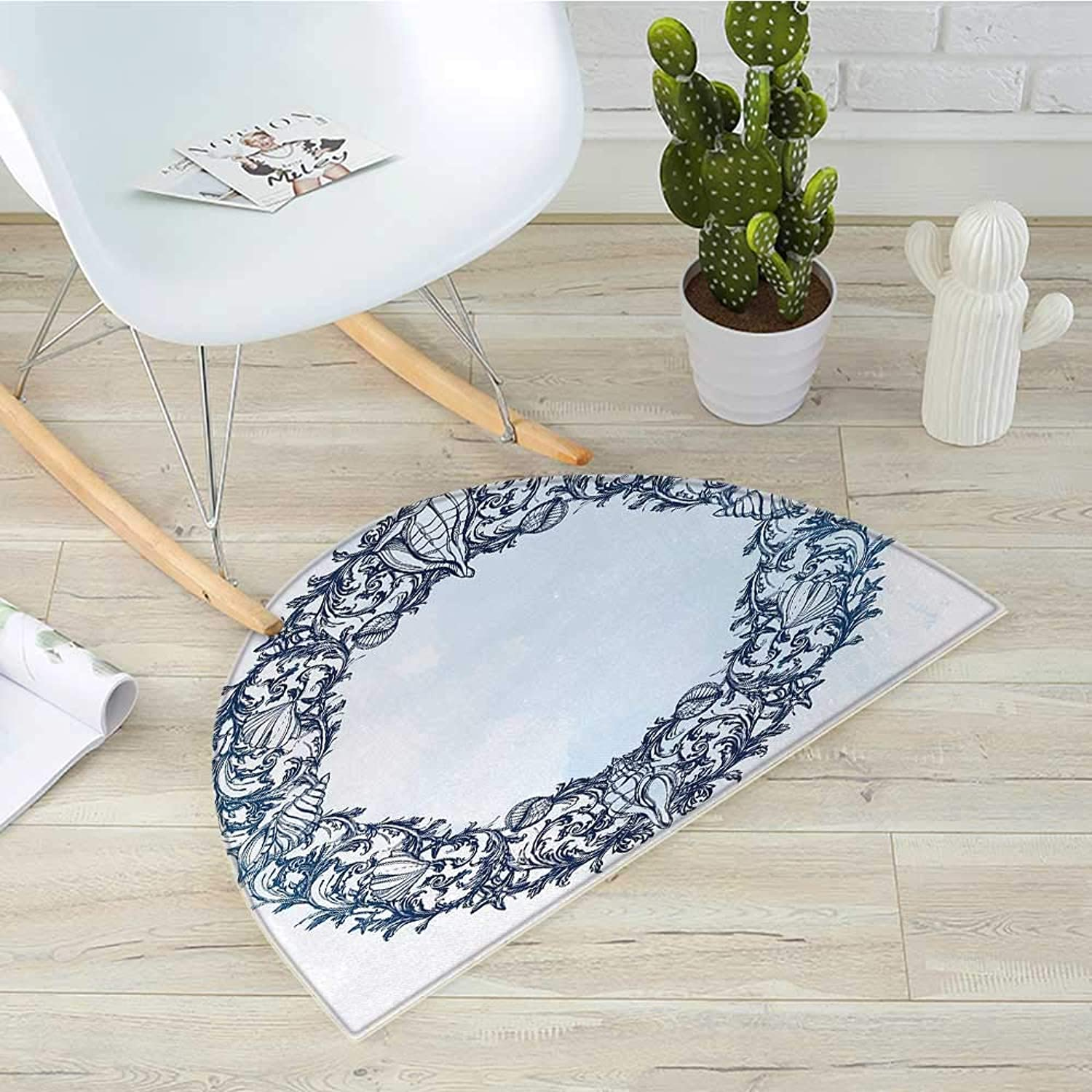 Occult Semicircular CushionCircular Ornamental Occult with Ethnic Floral Details Spirit of Universe Zen Nature Image Entry Door Mat H 31.5  xD 47.2  bluee