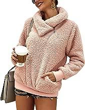 Yanekop Womens Sherpa Fleece Sweatshirt Fuzzy Zip Up Pullover Cowl Neck Tops with Pockets
