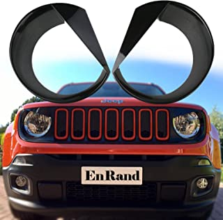 EnRand Front Light Bezel Headlight Cover Trim for Jeep Renegade 2015 2016 2017 2018,Angry Birds Eye Style,Durable UV Treated ABS,Upgrade Clip in Version - coolthings.us
