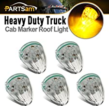 Partsam 5X Roof Running Top Marker Light Clear Amber 17 LED Clear Lens Replacement for Kenworth Peterbilt Freightliner Mack