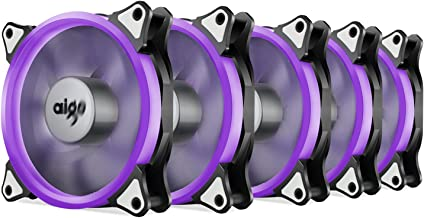 Aigo Case Fan, LED 120mm 4pin+3pin PC Computer Fan Quiet Edition Silent Cooler LED Ring Fan for PC Cases, CPU Coolers,Radiators System (5-pk) (Purple)