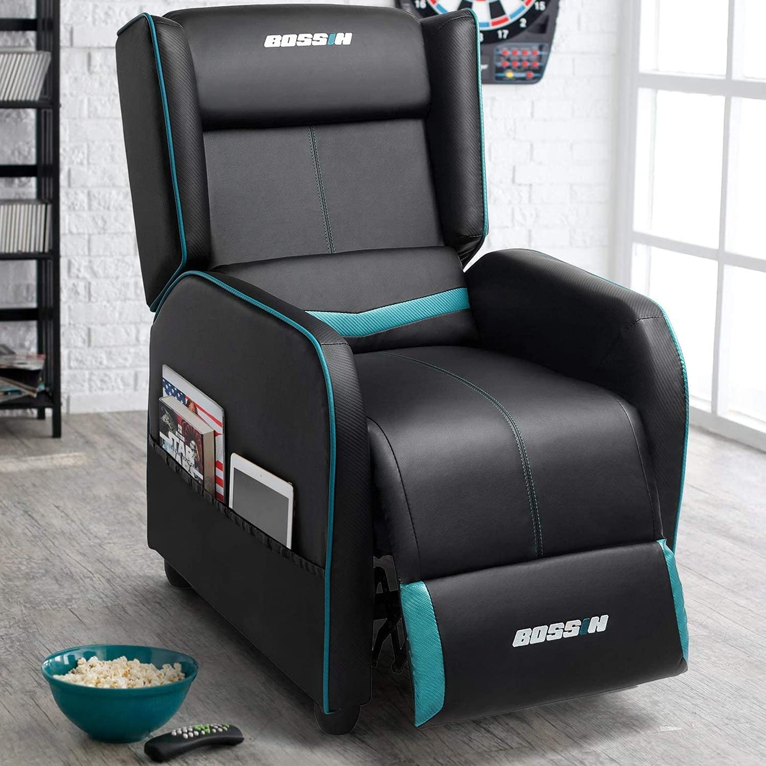 Lemberi Gaming Recliner Chair for Adults PU Leather Home Theater Seating Video Game Chairs for Living Room Ergonomic Racing Style Single Movie Gamer Lounge Sofa Teal Blue