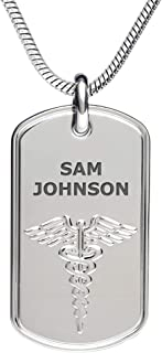 Divoti Deep Custom Laser Engraved Stainless Steel Medical Alert Necklace for Men, Classic Tag Medical ID Necklace, Medical Dog Tag w/Free Engraving - 24/28